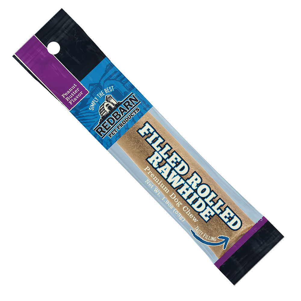 Redbarn Peanut Butter Filled Rolled Rawhide Dog Treats, 6-In