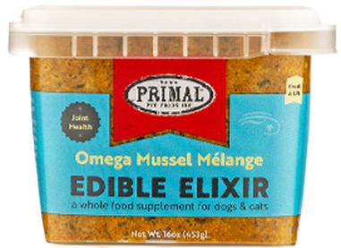 Primal Edible Elixir Omega Mussel Melange Joint Health, Frozen Dog & Cat Food Topper, 16-oz