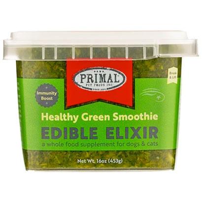 Primal Edible Elixir Healthy Green Smoothie Immunity Boost, Frozen Dog & Cat Food Topper, 16-oz