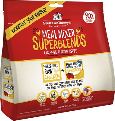 Stella & Chewy's SuperBlends Cage-Free Chicken Recipe Meal Mixers Grain-Free Freeze-Dried Dog Food, 3.25-oz bag