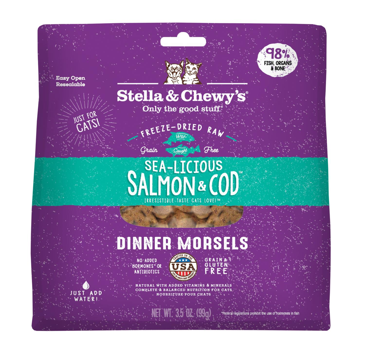 Stella & Chewy's Sea-licious Salmon & Cod Dinner Grain-Free Freeze-Dried Cat Food Image
