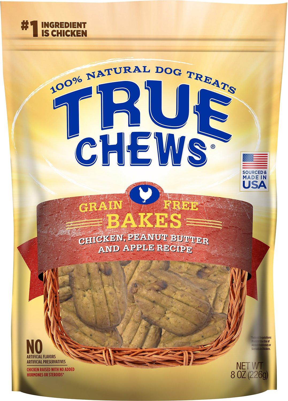 True Chews Bakes Chicken, Peanut Butter & Apple Grain-Free Recipe Dog Treats, 8-oz