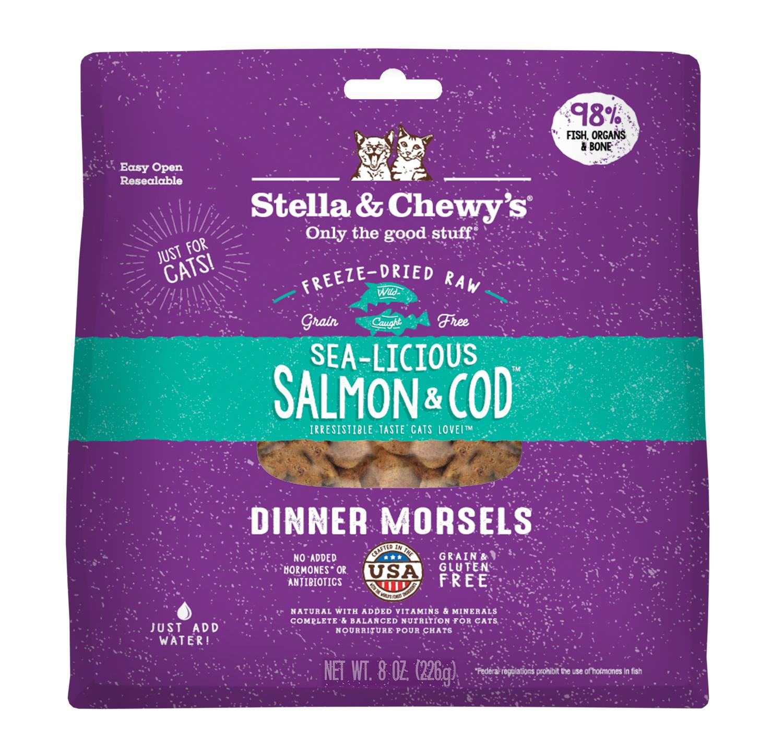 Stella & Chewy's Sea-licious Salmon & Cod Dinner Grain-Free Freeze-Dried Cat Food, 8-oz bag