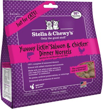 Stella & Chewy's Yummy Lickin' Salmon & Chicken Dinner Morsels Grain-Free Freeze-Dried Cat Food, 3.5-oz bag Size: 3.5-oz bag