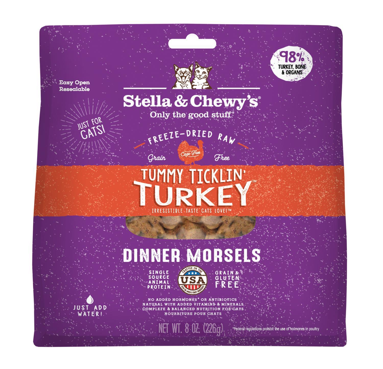 Stella & Chewy's Tummy Ticklin' Turkey Dinner Grain-Free Freeze-Dried Cat Food, 8-oz bag