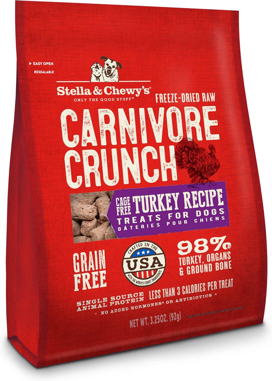 Stella & Chewy's Carnivore Crunch Cage-Free Turkey Recipe Freeze-Dried Dog Treats, 3.25-oz bag