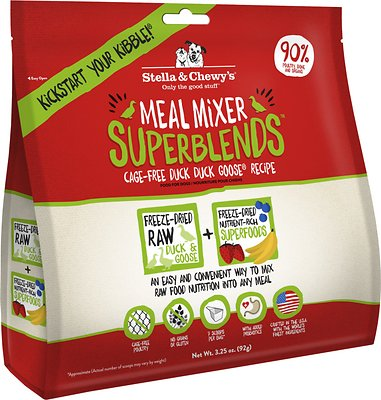Stella & Chewy's SuperBlends Cage-Free Duck Duck Goose Recipe Meal Mixers Grain-Free Freeze-Dried Dog Food, 3.25-oz