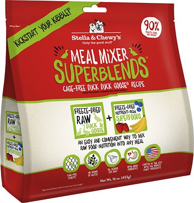 Stella & Chewy's SuperBlends Cage-Free Duck Duck Goose Recipe Meal Mixers Grain-Free Freeze-Dried Dog Food, 16-oz bag