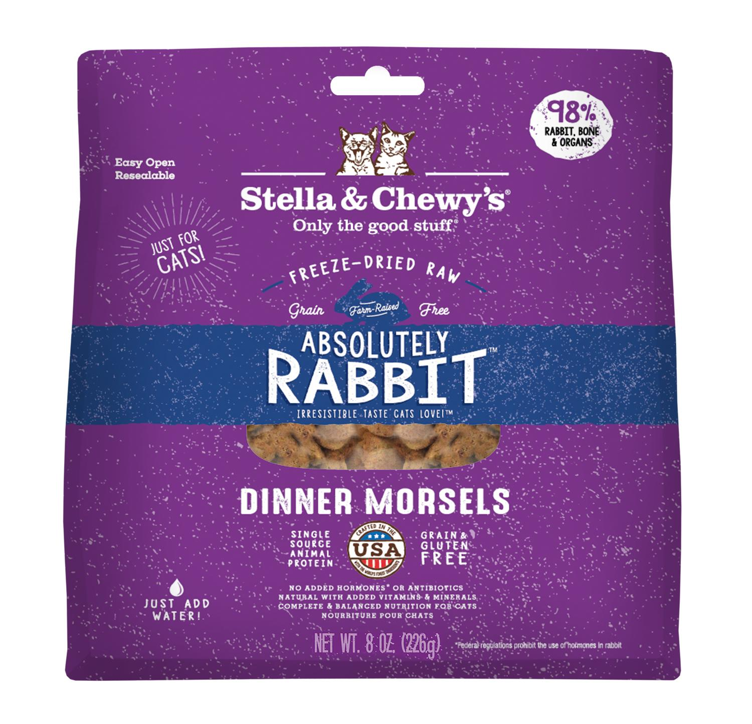 Stella & Chewy's Absolutely Rabbit Dinner Morsels Raw Freeze-Dried Cat Food, 9-oz bag
