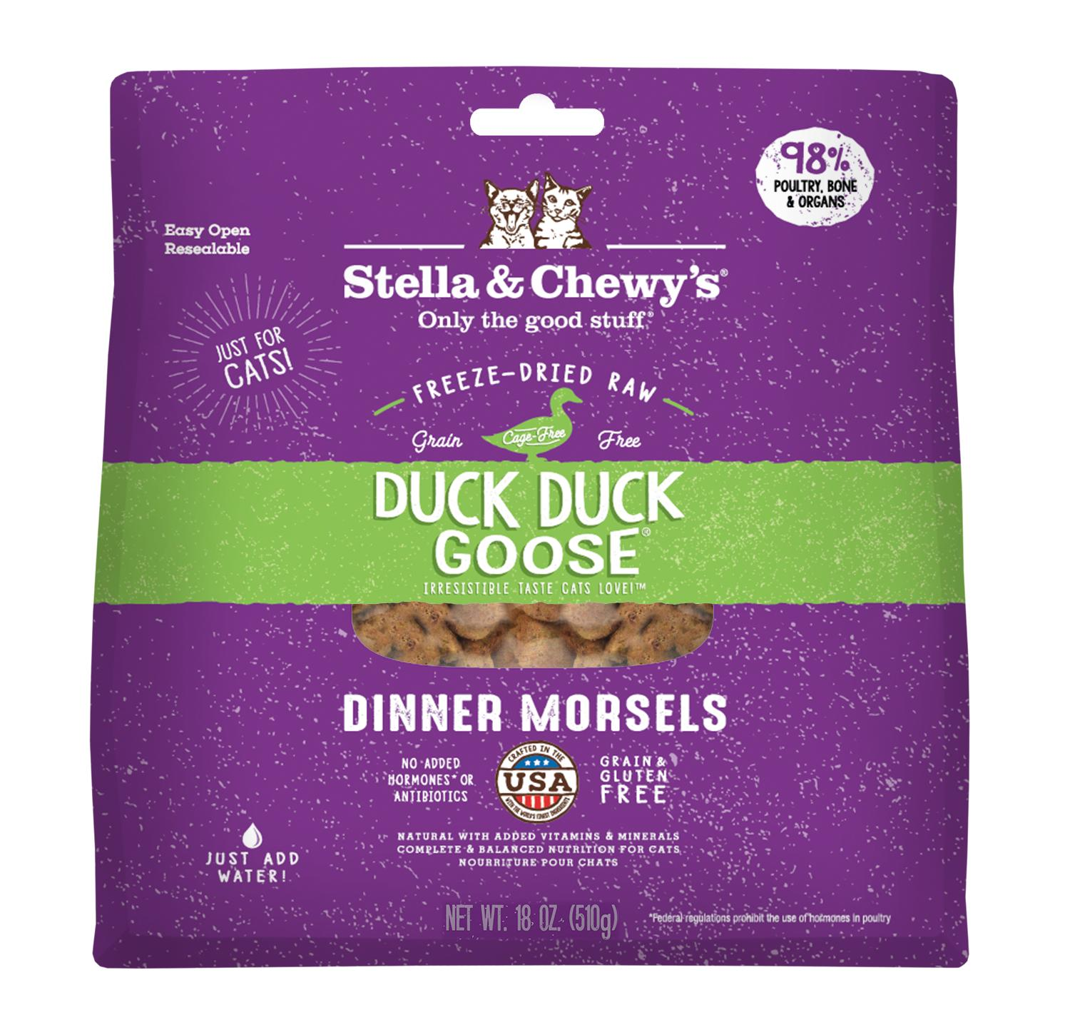 Stella & Chewy's Duck Duck Goose Dinner Morsels Grain-Free Freeze-Dried Cat Food, 18-oz bag
