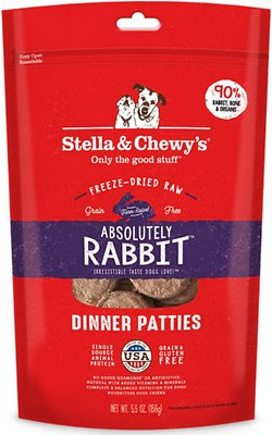 Stella & Chewy's Absolutely Rabbit Dinner Patties Grain-Free Freeze-Dried Dog Food, 5.5-oz bag