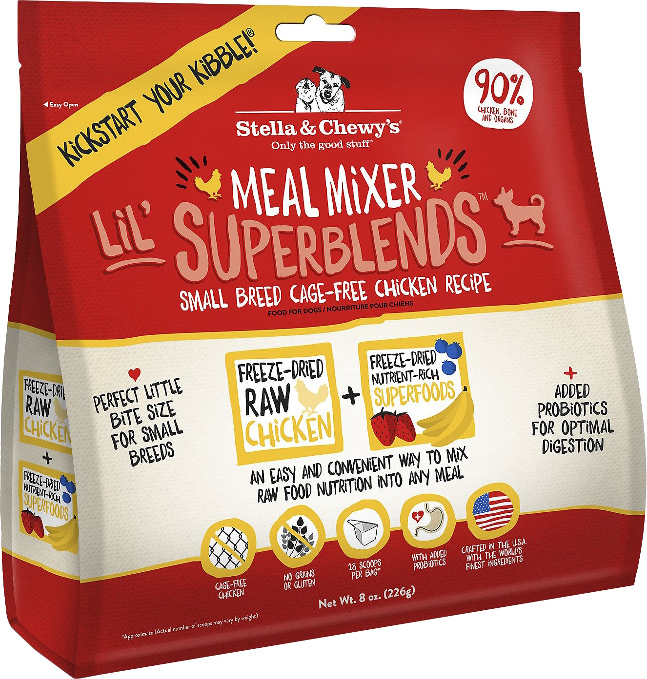 Stella & Chewy's Lil' SuperBlends Small Breed Cage-Free Chicken Recipe Meal Mixers Grain-Free Freeze-Dried Dog Food Image