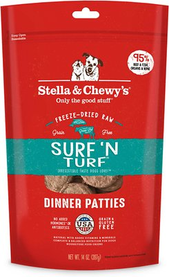 Stella & Chewy's Surf 'N Turf Dinner Patties Grain-Free Freeze-Dried Dog Food, 14-oz bag