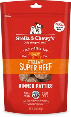 Stella & Chewy's Stella's Super Beef Dinner Patties Grain-Free Freeze-Dried Dog Food, 14-oz bag