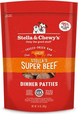 Stella & Chewy's Stella's Super Beef Dinner Patties Grain-Free Freeze-Dried Dog Food, 25-oz bag