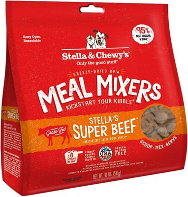 Stella & Chewy's Stella's Super Beef Meal Mixers Grain-Free Freeze-Dried Dog Food, 18-oz bag