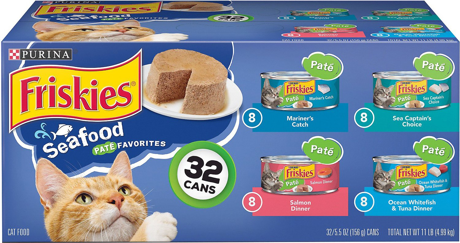Friskies Classic Pate Seafood Variety Pack Canned Cat, 5.5-oz, case of 32