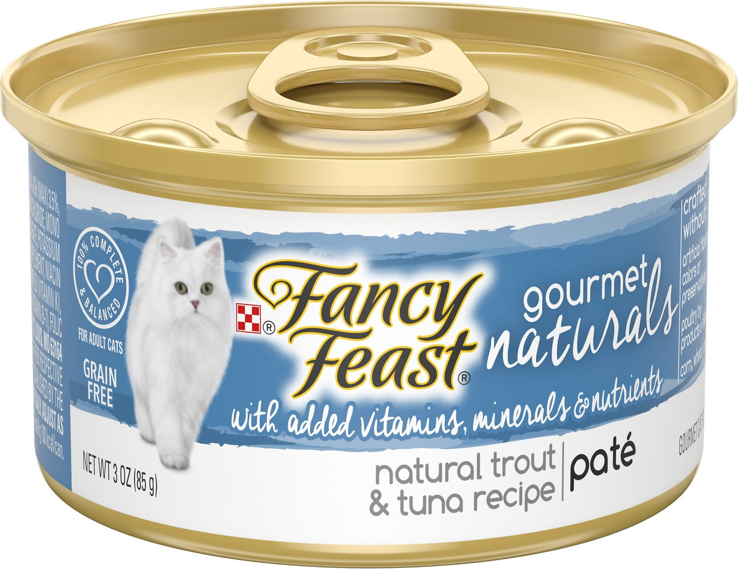 Fancy Feast Gourmet Naturals Trout & Tuna Recipe Pate Canned Cat Food Image