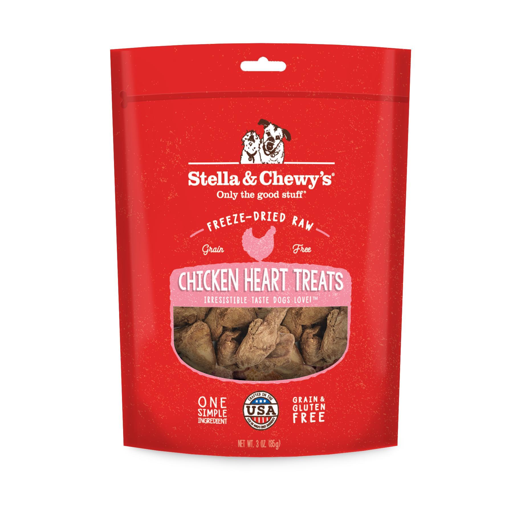 Stella & Chewy's Chicken Hearts Freeze-Dried Dog Treats, 3-oz bag