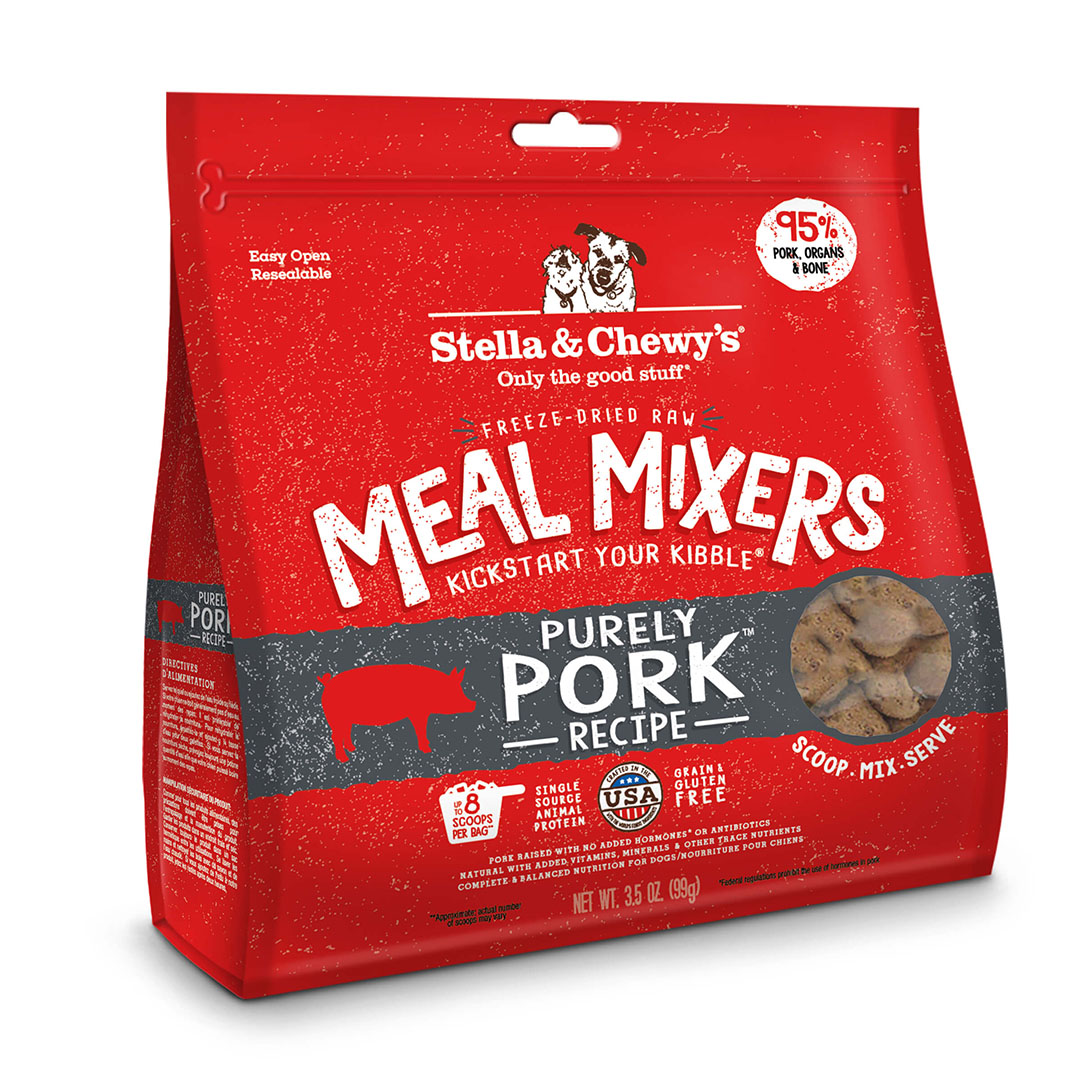 Stella & Chewy's Meal Mixers Freeze-Dried Dog Food Topper, Purely Pork, 18-oz bag