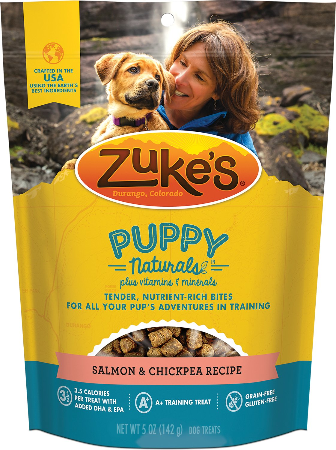 Zuke's Puppy Naturals Salmon & Chickpea Recipe Dog Treats, 5-oz bag (Weights: 5 ounces) Image