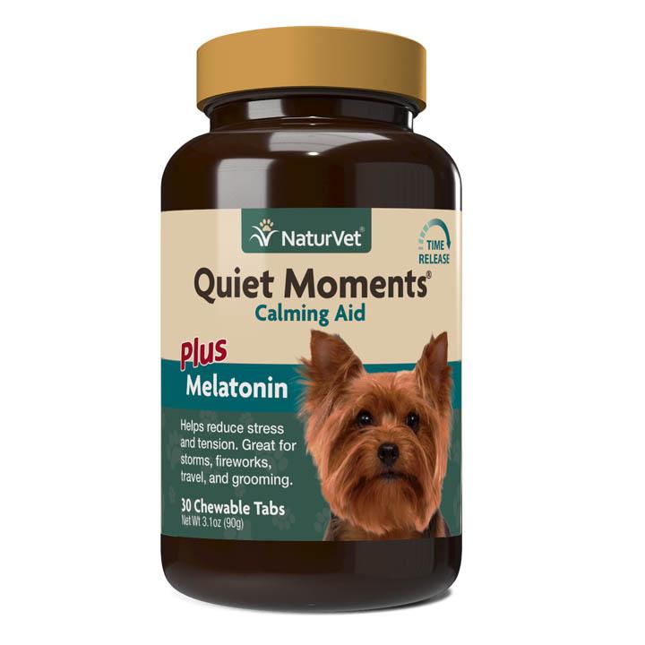 Naturvet Quiet Moments Calming Aid Plus Melatonin Chewable Tablets for Dogs, 60-count