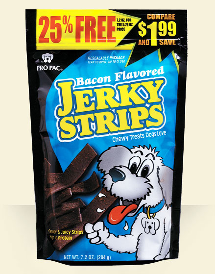 Pro Pac Ultimates Bacon Flavored Jerky Strips Dog Treats, 7.2-oz