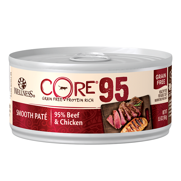Wellness Core 95% Grain-Free Canned Cat Food, Beef & Chicken, 5.5-oz can