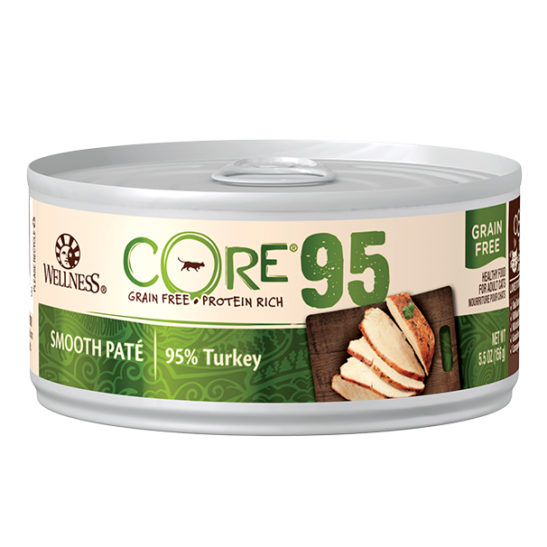 Wellness Core 95% Grain-Free Canned Cat Food, Turkey, 5.5-oz can