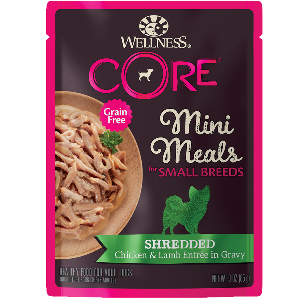 Wellness CORE Small Breed Mini Meals Shredded Chicken & Lamb Entrée Wet Dog Food, 3-oz, case of 12