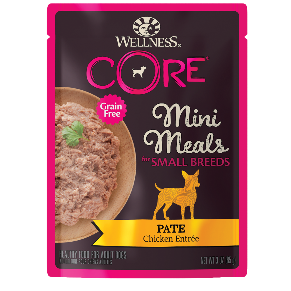 Wellness CORE Small Breed Mini Meals Pate Chicken Entrée Wet Dog Food, 3-oz, case of 12