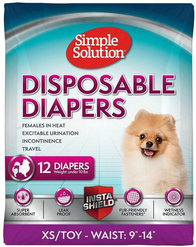 Simple Solution 12 Disposable Diapers, X-Small, Toy Breed