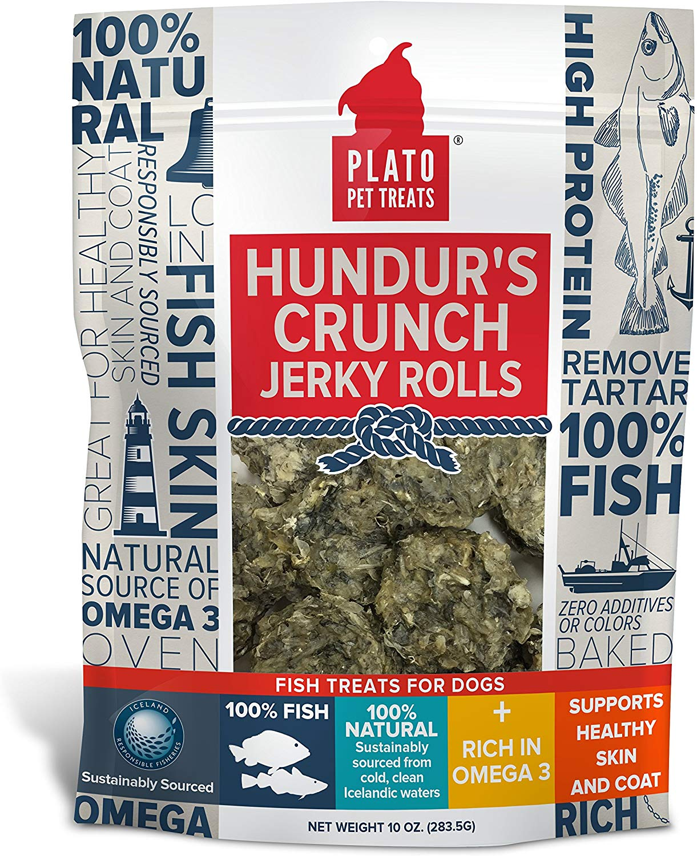 Plato Pet Treats Hundur's Crunch Fish Jerky Rolls Dog Treats, 10-oz bag