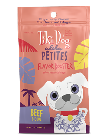 Tiki Dog Aloha Petites Grain-Free Flavor Booster Wet Dog Food, Beef Bisque, 1.5-oz pouch