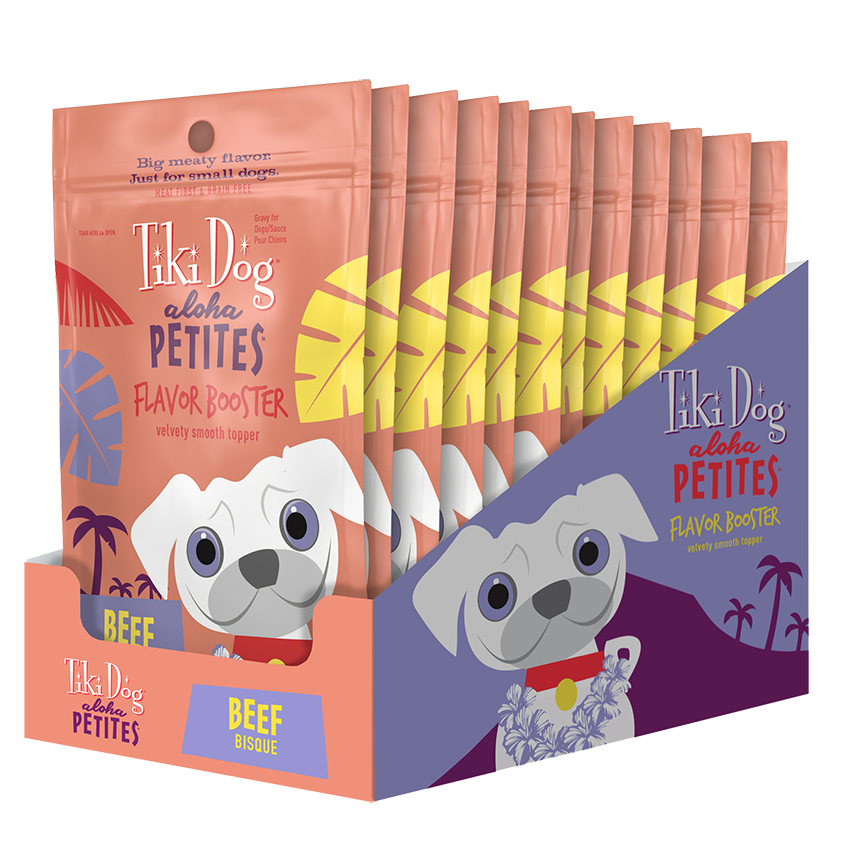 Tiki Dog Aloha Petites Flavor Booster Beef Bisque Wet Dog Food, 1.5-oz pouch, case of 12