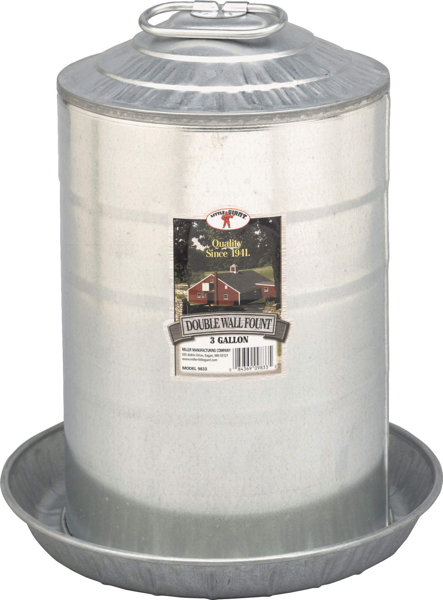 Miller Little Giant Metal Double Wall Poultry Fountain, 3-gallon