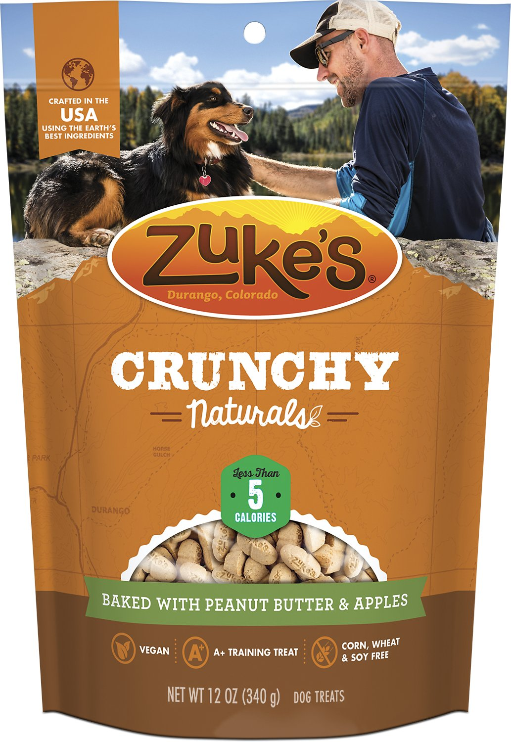 Zuke's Crunchy Naturals 5s Baked With Peanut Butter & Apples Dog Treats, 12-oz bag