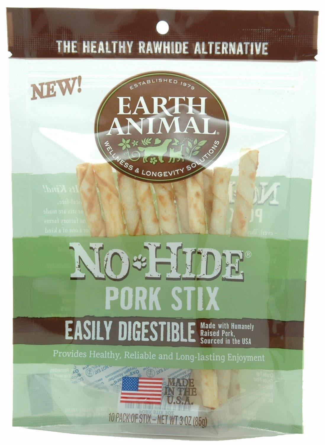 Earth Animal No-Hide Pork Stix Chew Dog Treat, 1-count