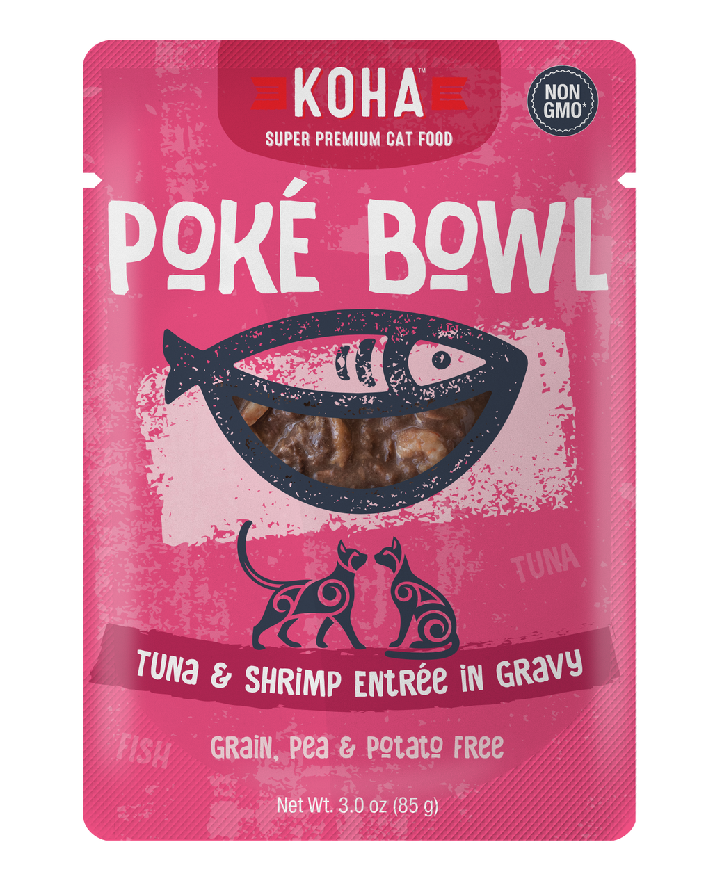 Koha Cat Poke Bowl Tuna & Shrimp Entrée in Gravy Wet Cat Food, 3-oz pouch