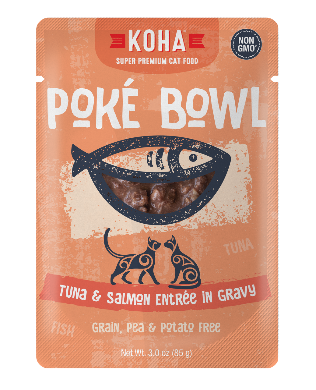 Koha Cat Poke Bowl Tuna & Salmon Entrée in Gravy Wet Cat Food, 3-oz pouch