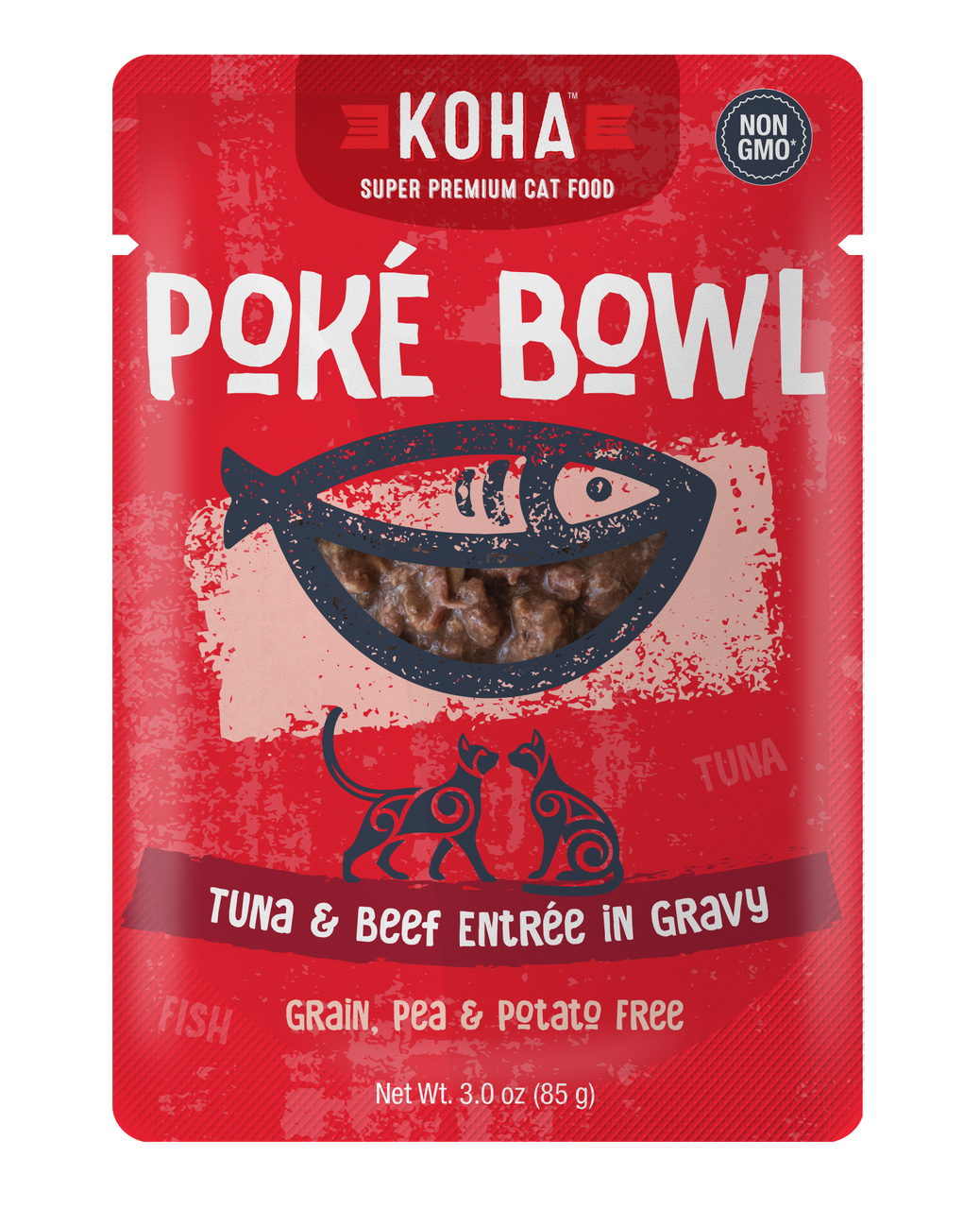 Koha Cat Poke Bowl Tuna & Beef Entrée in Gravy Wet Cat Food, 3-oz pouch