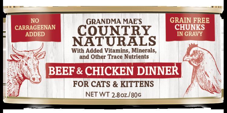 Grandma Mae's Country Naturals Beef & Chicken Dinner Grain-Free Chunks in Gravy Wet Cat Food, 2.8-oz