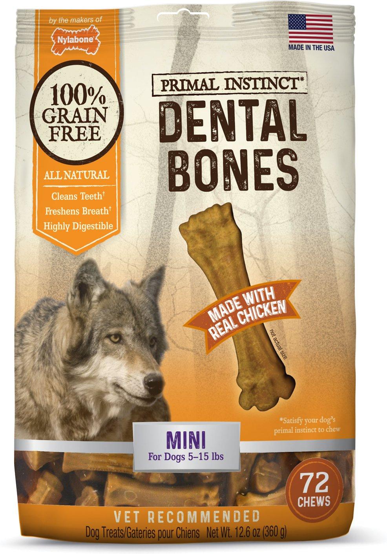 Nylabone Primal Instinct Mini Chicken Recipe Dental Bones Dog Treats, 72-count