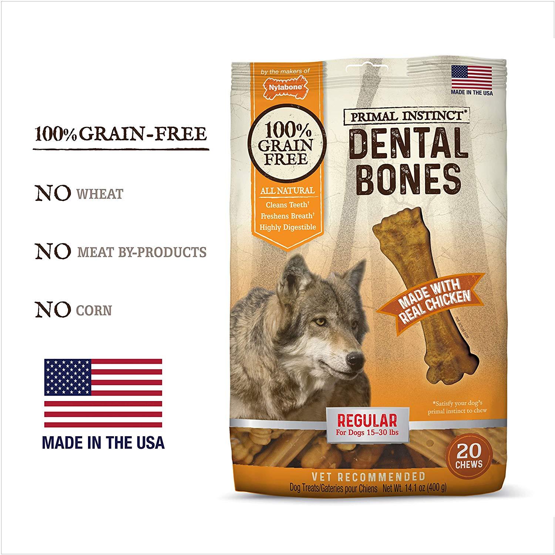 Nylabone Primal Instinct Chicken Recipe Dental Bones Dog Treats, Regular, 20-count