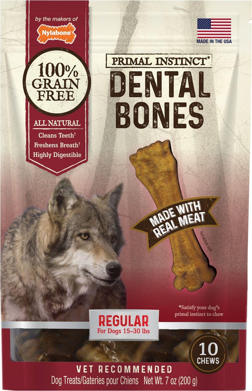 Nylabone Primal Instinct Regular Dental Bones Dog Treats, 10-count