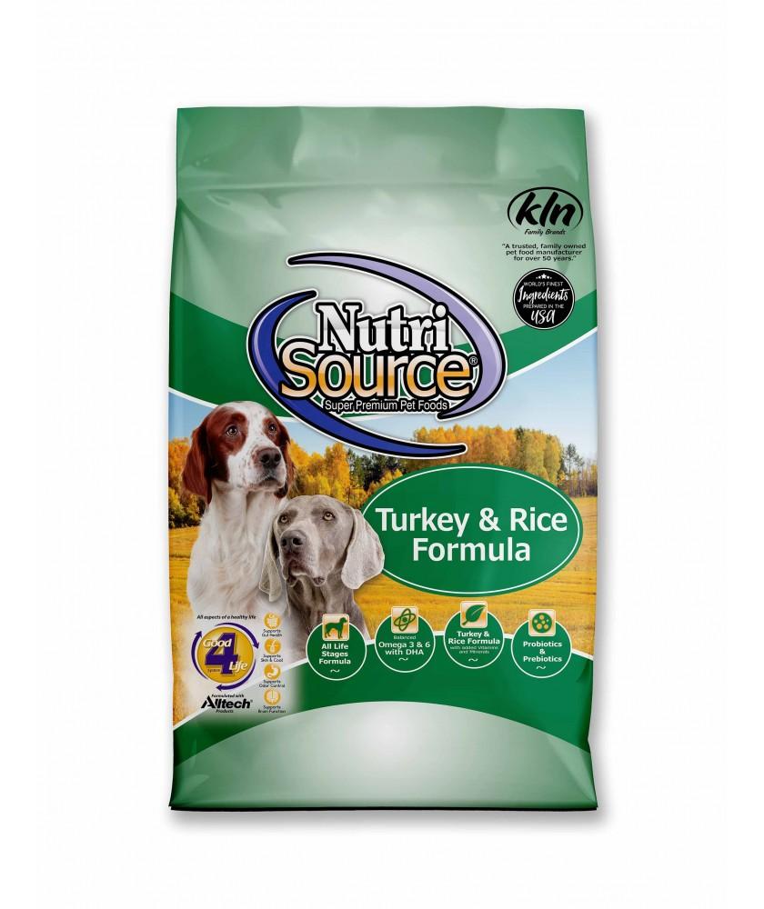 NutriSource Turkey & Rice Dry Dog Food, 15-lb bag