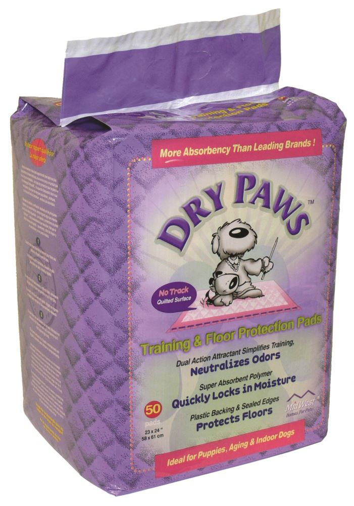Midwest Dry Paws Training & Floor Protection Dog Pads, 50 count