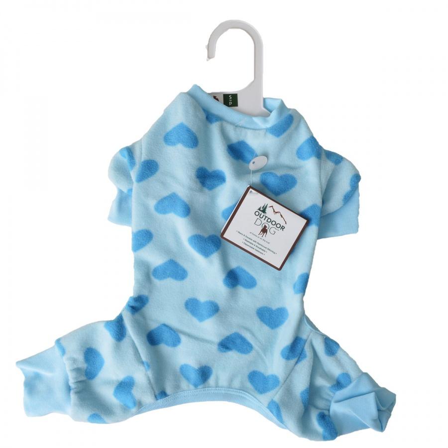 Ethical Fashion Pet Lookin' Good! Heart Fleece Dog Pajamas, Blue, Small