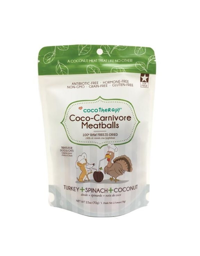 Coco Therapy Coco-Carnivore Meatballs Freeze-Dried Raw Dog Treats, Turkey, Spinach, and Coconut Flavor, 2.5-oz bag