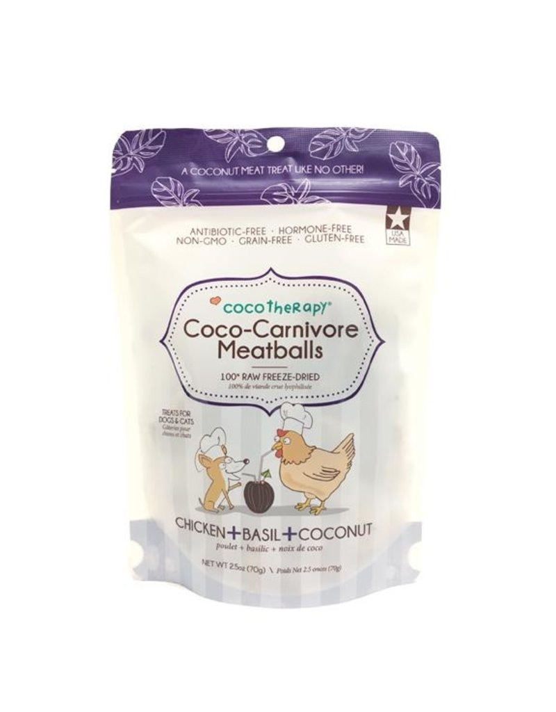 Coco Therapy Coco-Carnivore Meatballs Freeze-Dried Raw Dog Treats, Chicken, Basil, and Coconut Flavor, 2.5-oz bag